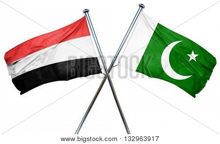 Yemen flag with Pakistan flag, 3D rendering