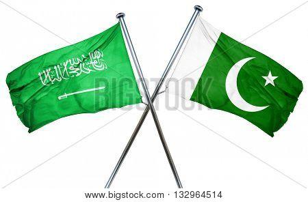Saudi Arabia flag with Pakistan flag, 3D rendering