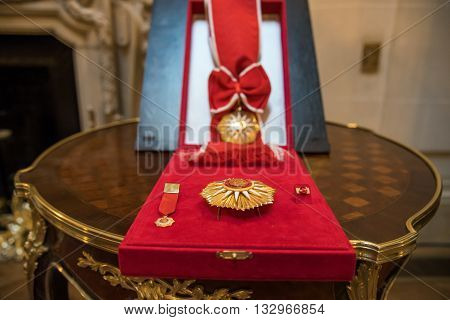 Buenos Aires Argentina - October 21 2015: The Order of May at the ceremony for opening an exhibition dedicated to the 130th anniversary of diplomatic relations between Russia and Argentina.