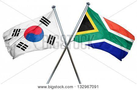 South korea flag with South Africa flag, 3D rendering