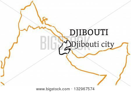 Djibouti country with its capital Djibouti city in Africa hand-drawn sketch map isolated on white