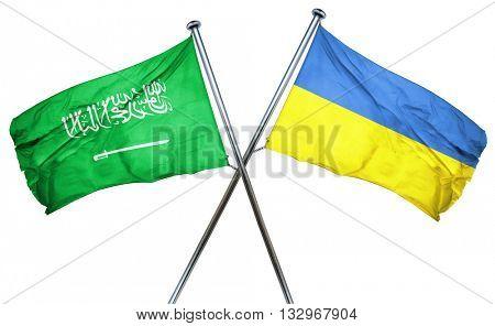 Saudi Arabia flag with Ukraine flag, 3D rendering