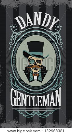vector illustration retro skull with a mustache in the cylinder in an elegant frame