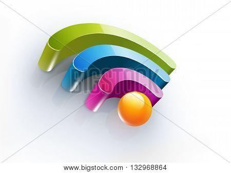 Bright colorful symbol of Wi Fi with soft shadow on white background, 3D illustration