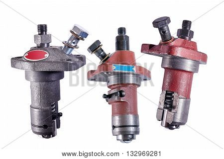 fuel pumps for diesel engines single cylinder isolated on white background