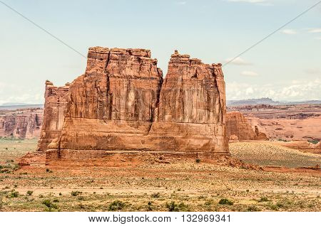 Close-up view of Tower of Babel (left foreground) and The Organ (right foreground) in Arches National Park