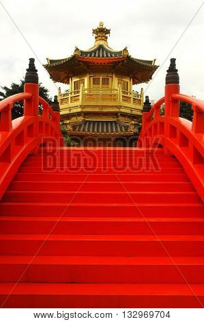 oriental golden pavilion of Chi Lin Nunnery and Chinese garden landmark in Hong Kong
