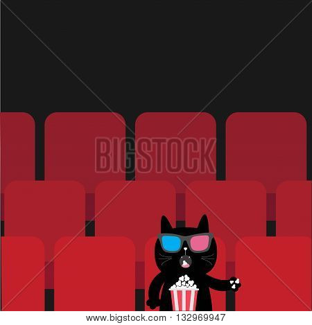 Cat sitting in movie theater eating popcorn. Cute cartoon character. Film show Cinema background. Kitten watching movie in 3D glasses. Red seats hall. Dark background. Flat design Vector illustration