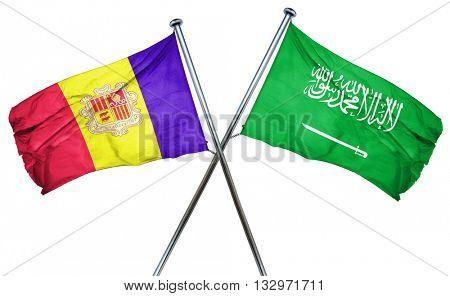 Andorra flag with Saudi Arabia flag, 3D rendering