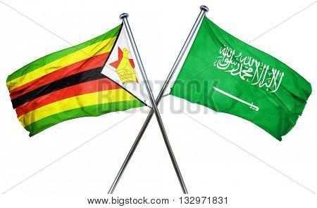 Zimbabwe flag with Saudi Arabia flag, 3D rendering
