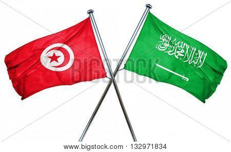 Tunesia flag with Saudi Arabia flag, 3D rendering
