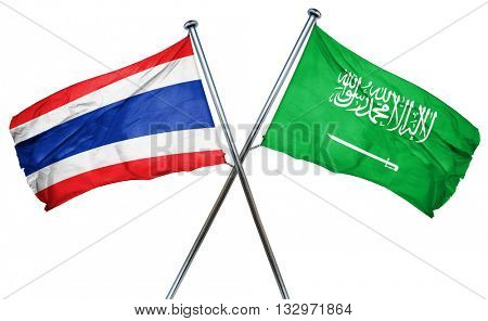 Thailand flag with Saudi Arabia flag, 3D rendering