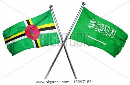 Dominica flag with Saudi Arabia flag, 3D rendering