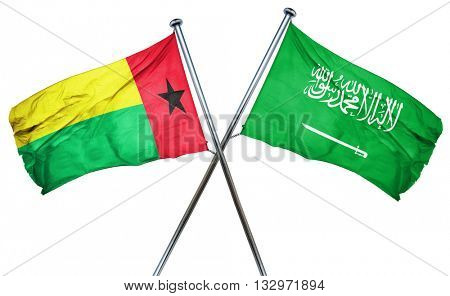 Guinea bissau flag with Saudi Arabia flag, 3D rendering