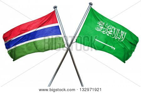 Gambia flag with Saudi Arabia flag, 3D rendering