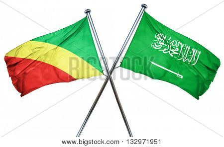 Congo flag with Saudi Arabia flag, 3D rendering