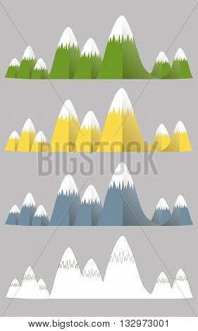 Blue, green, white, yellow hills with white peaks on gray, design elements, flat design, vector