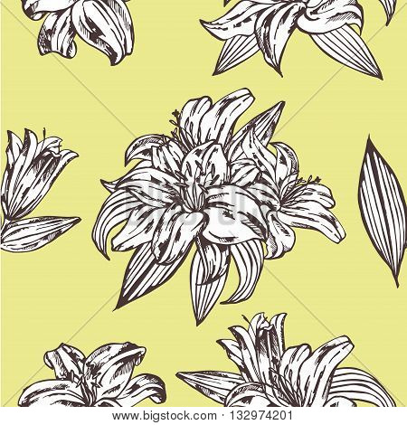 Seamless vector floral pattern. Royal lily flowers on a yellow background.Seamless pattern with blooming lilies