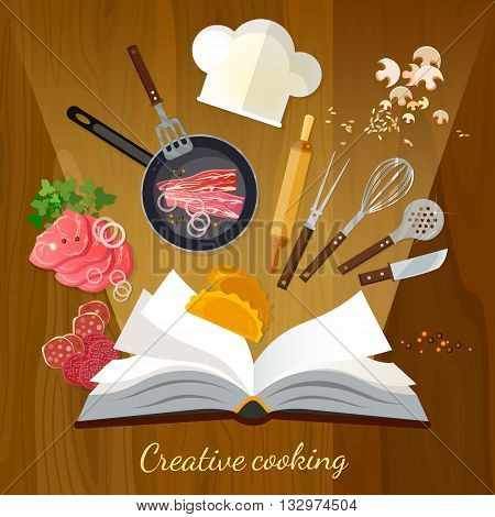 Cookbook creative cooking vector illustration cook set