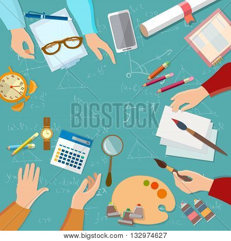 Education students preparing for exams people hands team back to school vector illustration