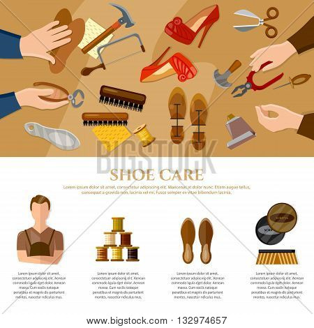 Shoemaker infographics professional equipment cobbler shoe repair shoe care vector illustration