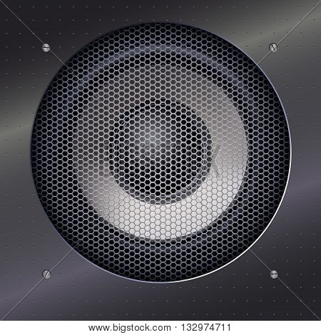Background with sound speakers dynamics and metal mesh. Background of polished metal with flare, patches of light. Audio speaker on a shiny metal background with bolts. Vector Illustration.