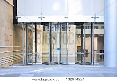 Revolving doors of office building in the city