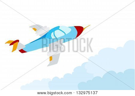 cartoon airplane flying over the clouds. light sport aircraft in the sky. vector illustration