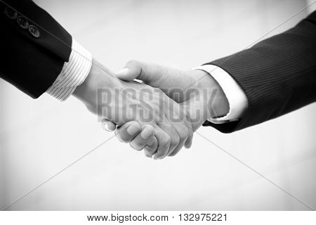 Handshake of businessmen in black and white