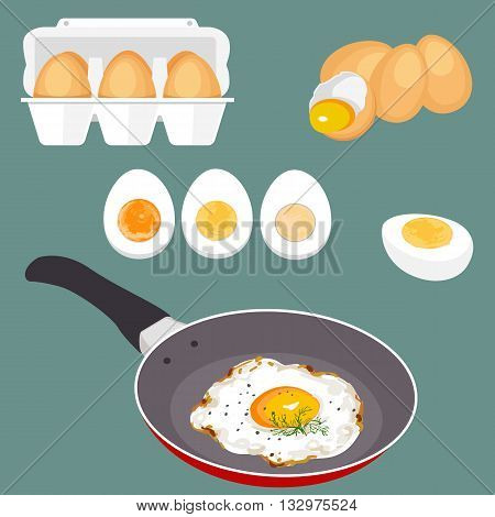 Colorful vector illustration of eggs. Set of cooking and fresh eggs. Eggshell and proteins. Healthy organic food. Diet product with protein. Raw broken cartoon eggs with yolks.