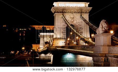 Budapest Chain Bridge. The historic Chain Bridge in Budapest, illuminated at night.