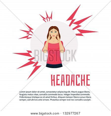 Woman with headache squeezing her head with hands. Vector migraine headache design template with place for text. Woman with acute pain in her head headache relief. Healthcare and migraine concept