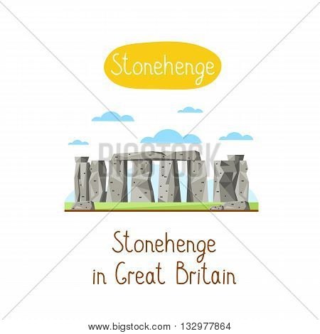 Stonehenge in Great Britain. Famous world landmarks icon concept. Journey around the world. Tourism and vacation theme. Modern design flat vector illustration.