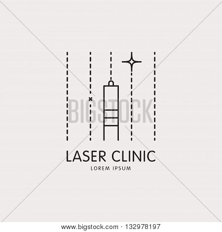 Line logo with a stylized image of the laser and the laser beams. It can be used for cosmetology, aesthetic medicine company, laser hair removal, laser vision correction. Vector isolated illustration.