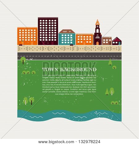 Town background vector template with vintage texture. It can be used for real estate advertising, creating guidebooks and maps.