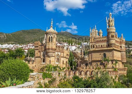 The famous Castillo de Colomares is a monument similar to a fairytale castle, dedicated to Christopher Columbus. Benalmadena, near Malaga in Andalusia, Spain.