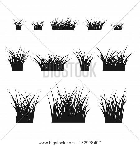 Grass bushes set. Nature plant background. Collection black silhouettes isolated on white. Symbol of field lawn spring and meadow fresh summer. Elements for design environment. Vector illustration