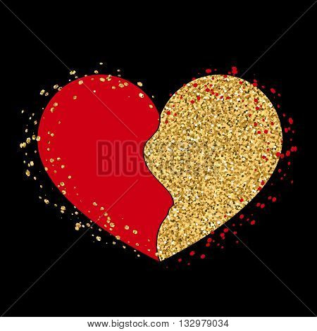 Halves gold heart icon. Two half puzzle. Art design template. Broken shape sign isolated on white background. Romance symbol wedding Valentine day romantic love. Golden splash. Vector illustration