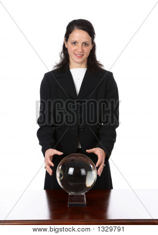 Business Woman With Crystal Ball