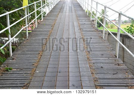 Wooden walkway, brown color of old wooden walkway