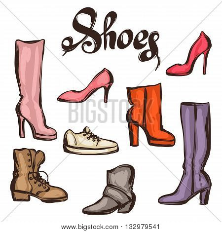 Set of various shoes. Hand drawn illustration female footwear, boots and stiletto heels.