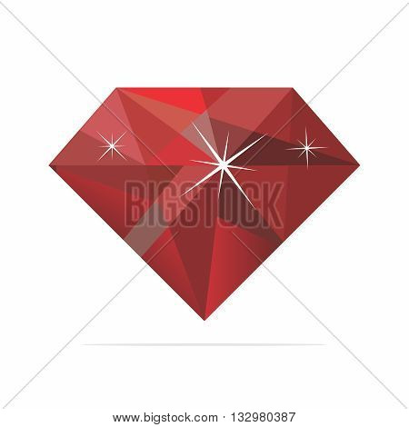 Vector Realistic Shiney Reflective Ruby Illustration isolated on white background