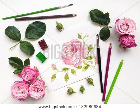 Colorful composition with roses and painting accessories. Flat lay on white table top view