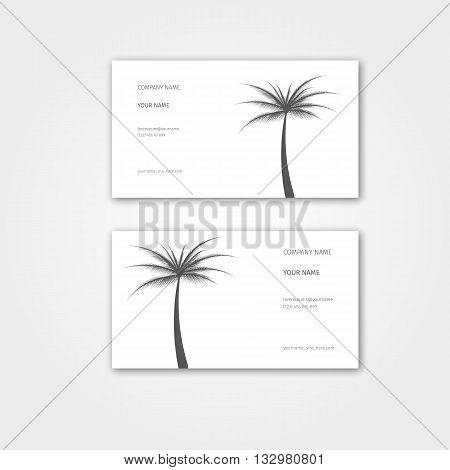 Summer Business card with palm for travel agency and tour guide.Vector illustration. Business card template set. Environment and tree theme business card template.