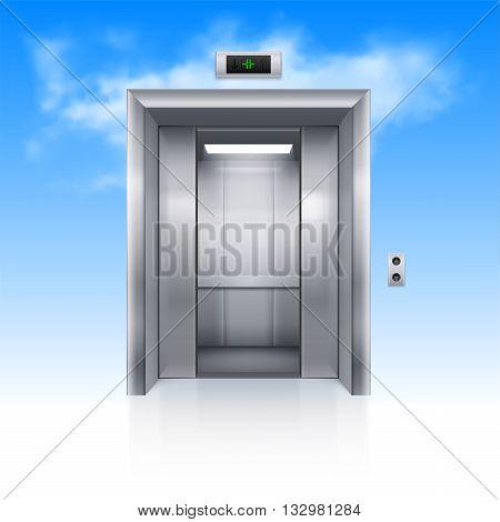 Half Open Chrome Metal Elevator Door in Sky