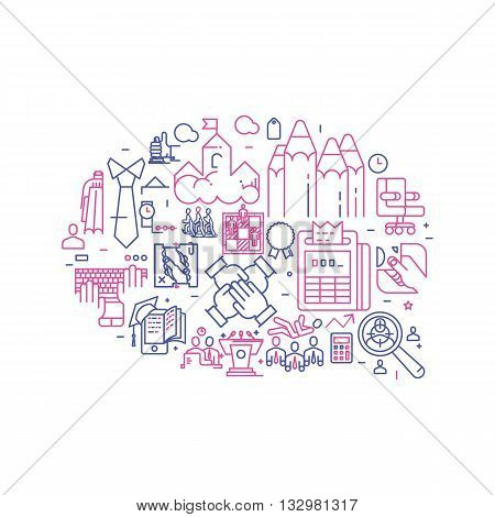 Vector business illustration with icons and signs in linear style components of the business speech on white background poster or banner template