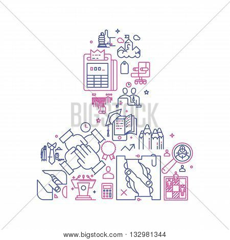 Vector business illustration with icons and signs in linear style components of the business man on white background poster or banner template