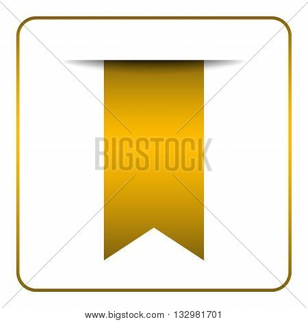 Yellow bookmark banner. Vertical book mark isolated on white background. Color tag label. Flag symbol sign. Design element blank. Empty sticker for sale. Template icon decoration Vector illustration