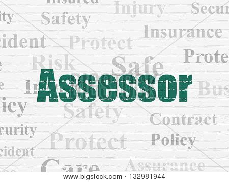 Insurance concept: Painted green text Assessor on White Brick wall background with  Tag Cloud