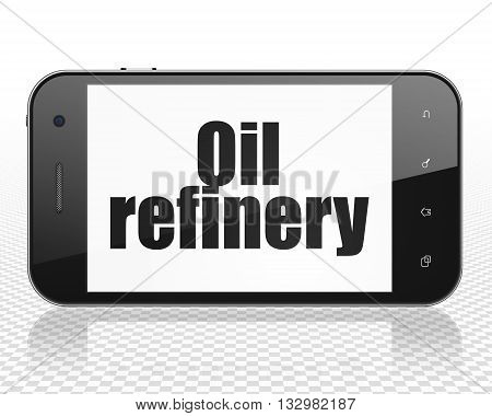 Manufacuring concept: Smartphone with black text Oil Refinery on display, 3D rendering